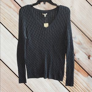 Sonoma Cable Knit VNeck Long Sleeve Sweater